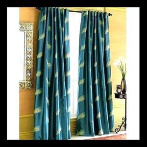 EUC PIER 1 TEAL w/EMBROID. PEACOCK FTHR CURTAINS